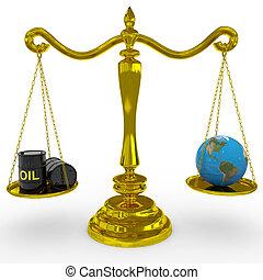 globo terra, olio, scale., barile