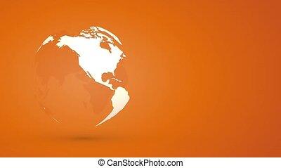 globo, terra planeta, girar, ligado, fundo alaranjado