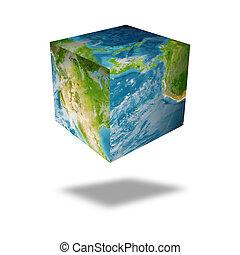 globo terra, quadrado
