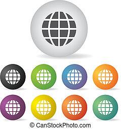 globo terra, set, icona