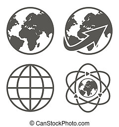 globo terra, set, icone