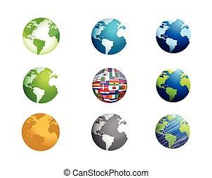 globo terra, set, illustrazione, icona