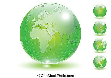 globo terra, set, vector.