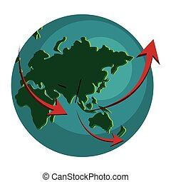 globo terra, setas, ícone