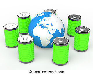 globo terra, verde, baterias, 3d
