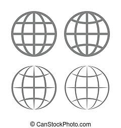globo terra, vetorial, emblema, set.