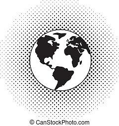 globo terra, vetorial, pretas, branca