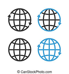 globo terra, vettore, emblema, set.