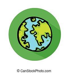globo terra, vettore, icona