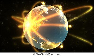 globo terrestre, animação, mostrando, 3d