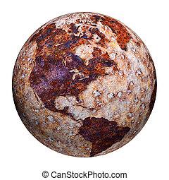 globo terrestre, -, corrosão, manchas, ligado, ferro
