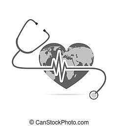 globo, tierra, con, estetoscopio, y, latido del corazón, signo., vector, ilustración