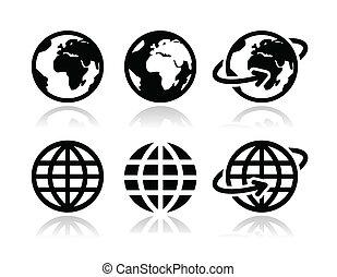 globo, tierra, vector, iconos, conjunto