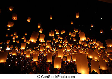 globo, tradicional, newyear, noche, tailandés, linterna