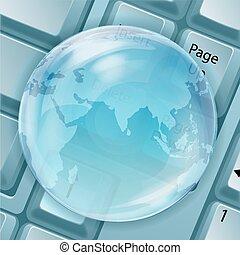 globo, transparente, teclado