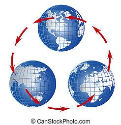 globo, tutto, continenti