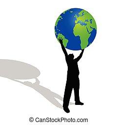 globo, vector, tenencia, ilustración, hombre