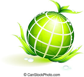 globo, verde, conservazione ambientale, fondo
