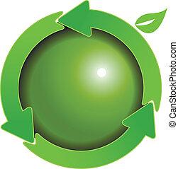 globo verde, flechas