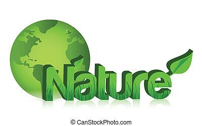 globo, verde, illustrazione, natura