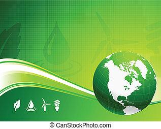 globo, verde, nautre, fundo