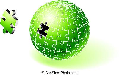 globo, verde, quebra-cabeça, incompleto