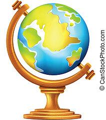 globo, vetorial, geográfico