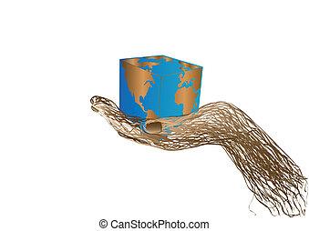 globo, vetorial, ilustração