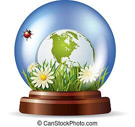 globo vetro, con, natura, dentro