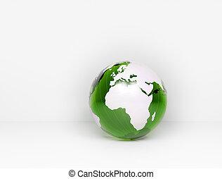 globo vetro, verde, mondo