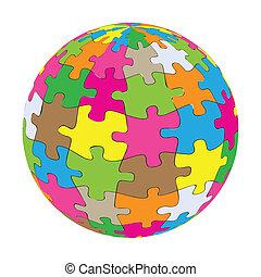 globo, vettore, colorito, puzzle, fondo