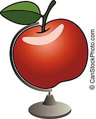 globo, vettore, mela, rosso, casato