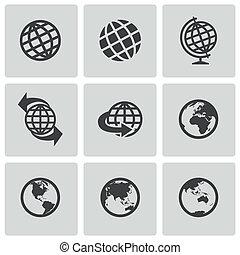 globo, vettore, nero, set, icone