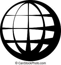 globo, vettore, nero, simbolo