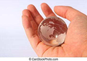 globo vidro, mão