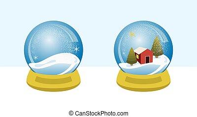 globo, villaggio, neve