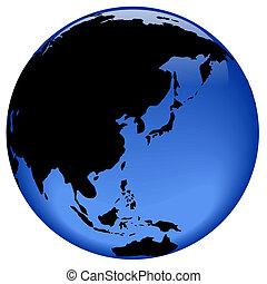 globo, vista, estremo oriente