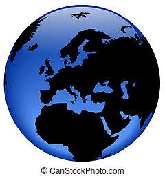 globo, vista, -, europa