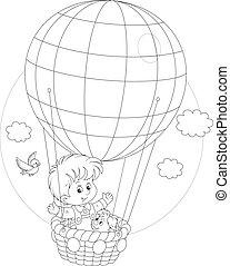 globo, vuelo, niño
