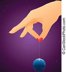 globo, woman`s, tenere braccio