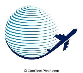 globo, y, avión, viaje, icono