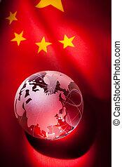 globo, y, bandera de china