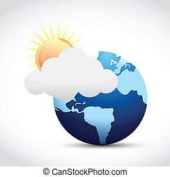 globo, y, tiempo, ilustración, diseño