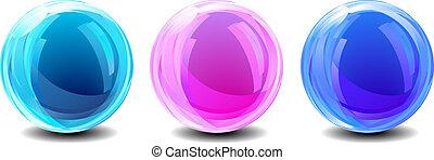 globos, abstratos, três