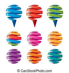 globos, cintas, torcido, multicolor