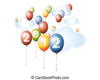 globos coloridos, en, el, cielo, 2012