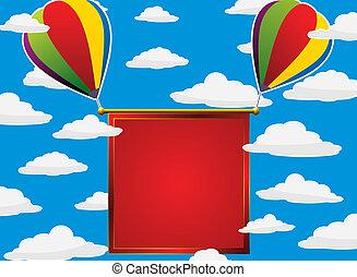 globos coloridos, en, el, cielo
