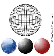 globos, conjunto, coloreado
