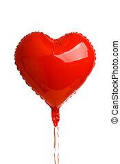 globos, corazón, aislado, hojuela