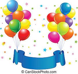 globos, cumpleaños, diseño
